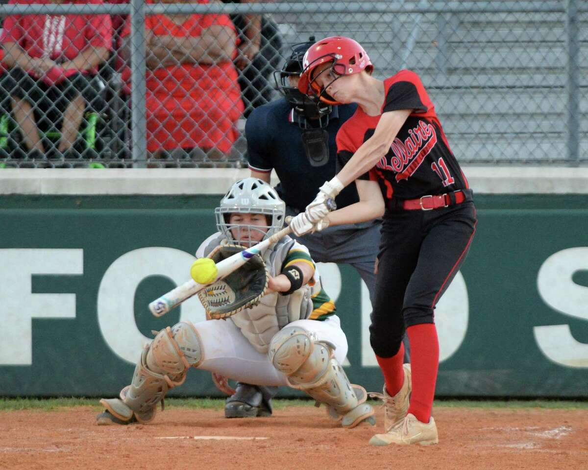 Braidee Glenn (11) of Bellaire singles during the second inning of a Class 6A Region III bi-district playoff softball game between the Bellaire Cardinals and the Stratford Spartans on Thursday, April 25, 2019 at Stratford High School, Houston, TX.