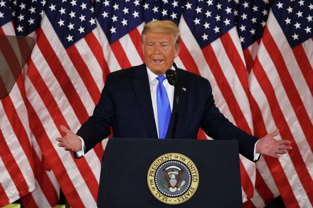 President Donald Trump speaks in the East Room of the White House in the early morning hours of Wednesday, Nov. 4. Trump spoke shortly after 2 a.m. with the presidential race against Democratic presidential nominee Joe Biden still too close to call.)