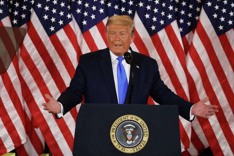 President Donald Trump speaks in the East Room of the White House in the early morning hours of Wednesday, Nov. 4. Trump spoke shortly after 2 a.m. with the presidential race against Democratic presidential nominee Joe Biden still too close to call.) Photo: Chip Somodevilla / Getty Images / 2020 Getty Images