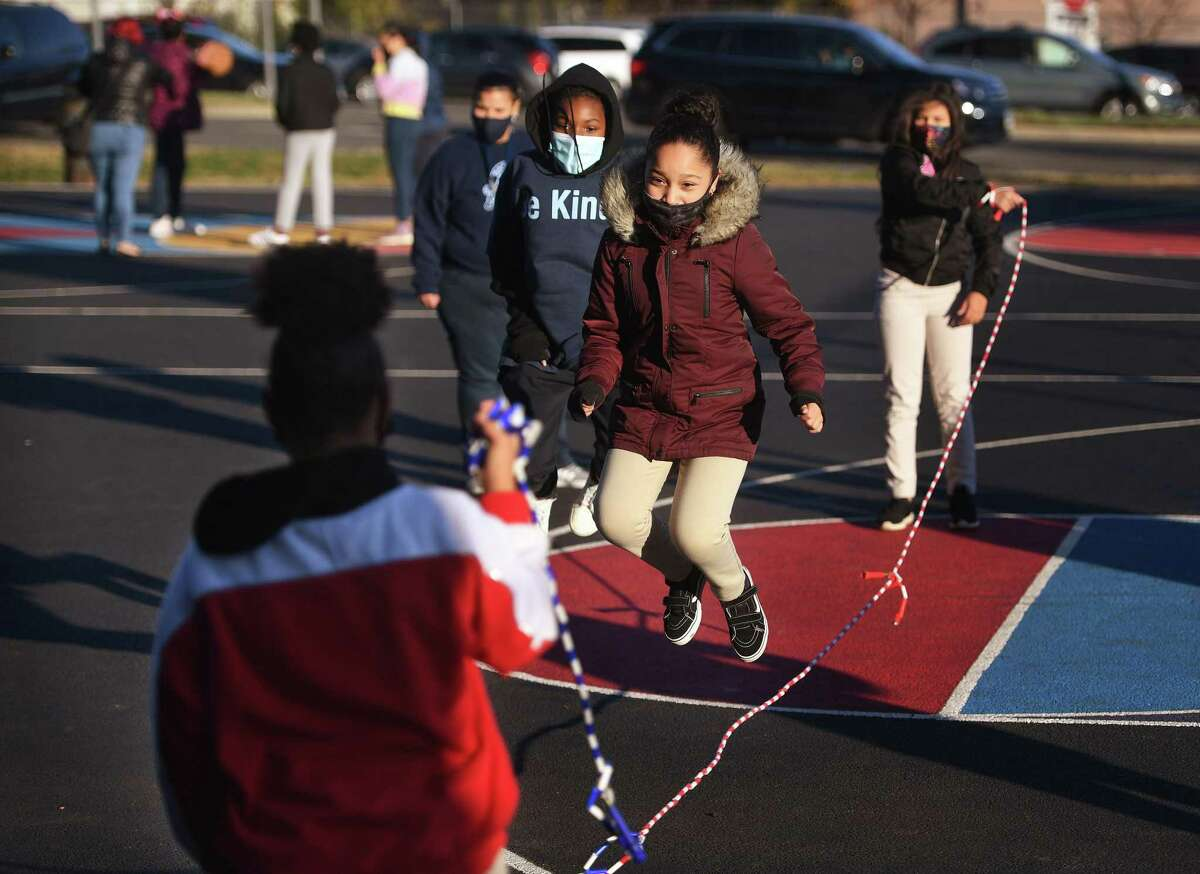 Jump rope keeps the blood moving on the playground during the afterschool program at Barnum and Waltersville Schools in Bridgeport on November 2.