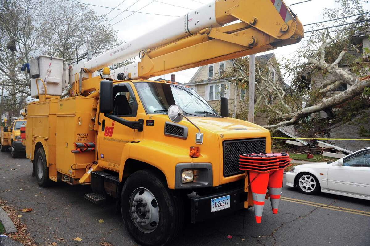 A file photo of a United Illuminating truck in Bridgeport, Conn.