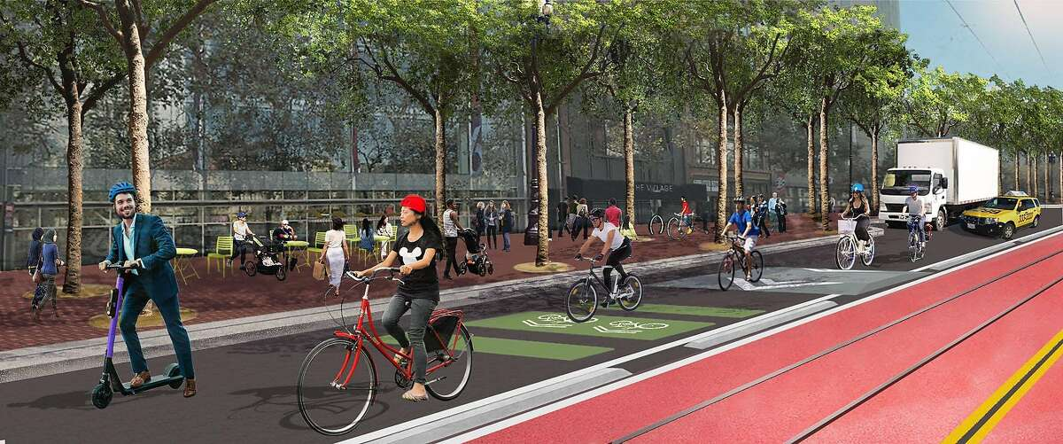 Rendering showing the new plans for a more modest update to San Francisco's Market Street than was approved in 2019. All Muni buses and the historic streetcars would run in the red central lanes (one is seen on the left), while bicyclists would share a single traffic lane with taxis and delivery trucks. There no longer would be separated bike lanes replacing part of the current sidewalk.