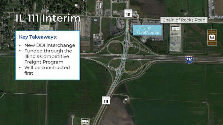 An overall look at IDOT's plan for replacing the interchange at I-270 and Route 111 with a Diverging Diamond Interchange. Photo: Courtesy Of The Illinois Department Of Transportation