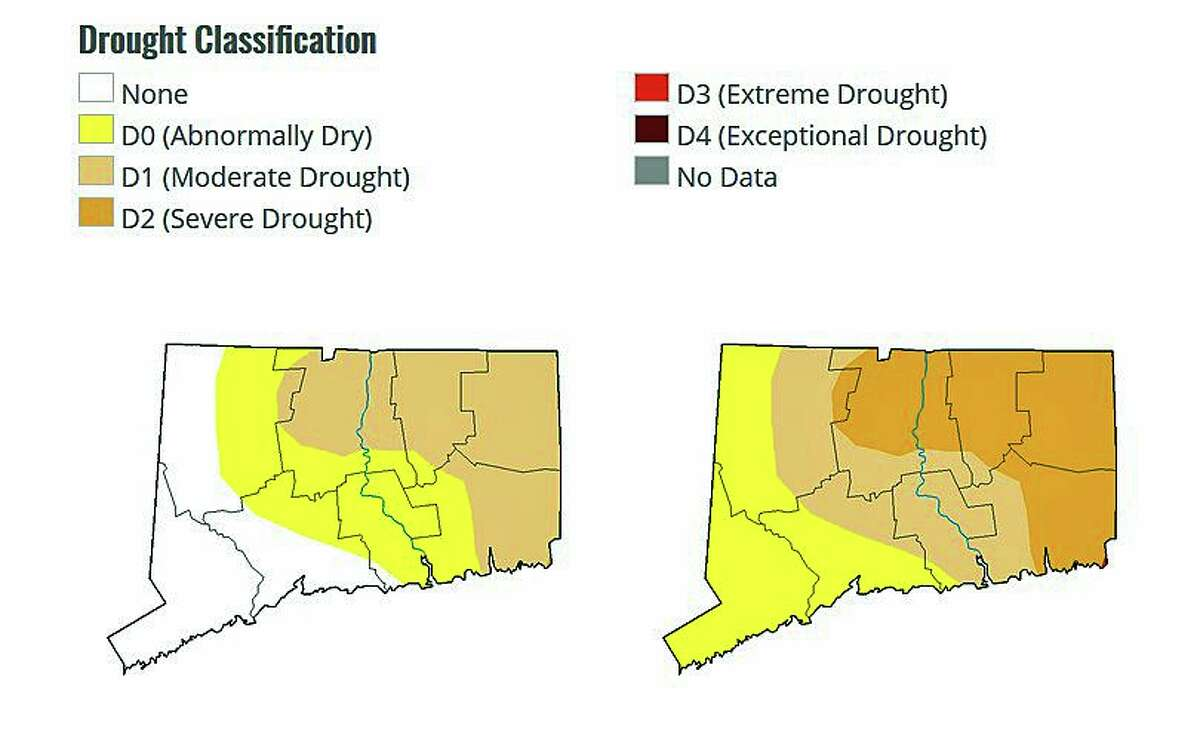 These maps by U.S. Drought Monitor show Connecticut's drought classifications from Nov. 3, 2020, left, and on Oct. 27, 2020, right.