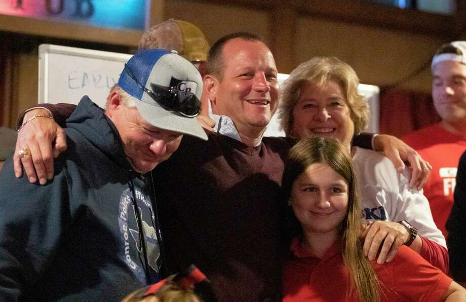 Jody Czajkoski celebrated with family after a victory over incumbent Conroe Mayor Toby Powell Tuesday in Conroe. In a historical and unprecedented year, former Conroe Councilman Jody Czajkoski can now focus on business after he was elected mayor Tuesday night. Photo: Jason Fochtman, Houston Chronicle / Staff Photographer / 2020 © Houston Chronicle