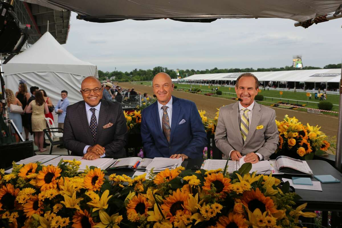 The NBC horse racing broadcast team of (from left) Mike Tirico, Randy Moss and Jerry Bailey. (NBC Sports Group)