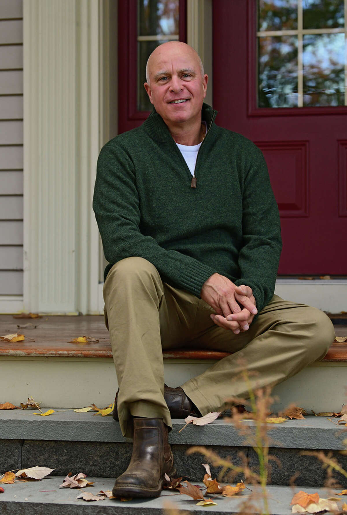 Peter DiLillo is seen outside his home on Friday, Oct. 23, 2020 in Guilderland, N.Y. DiLillo is a volunteer for Community Caregivers, a Guilderland based non-profit that focuses on home health care. (Lori Van Buren/Times Union)