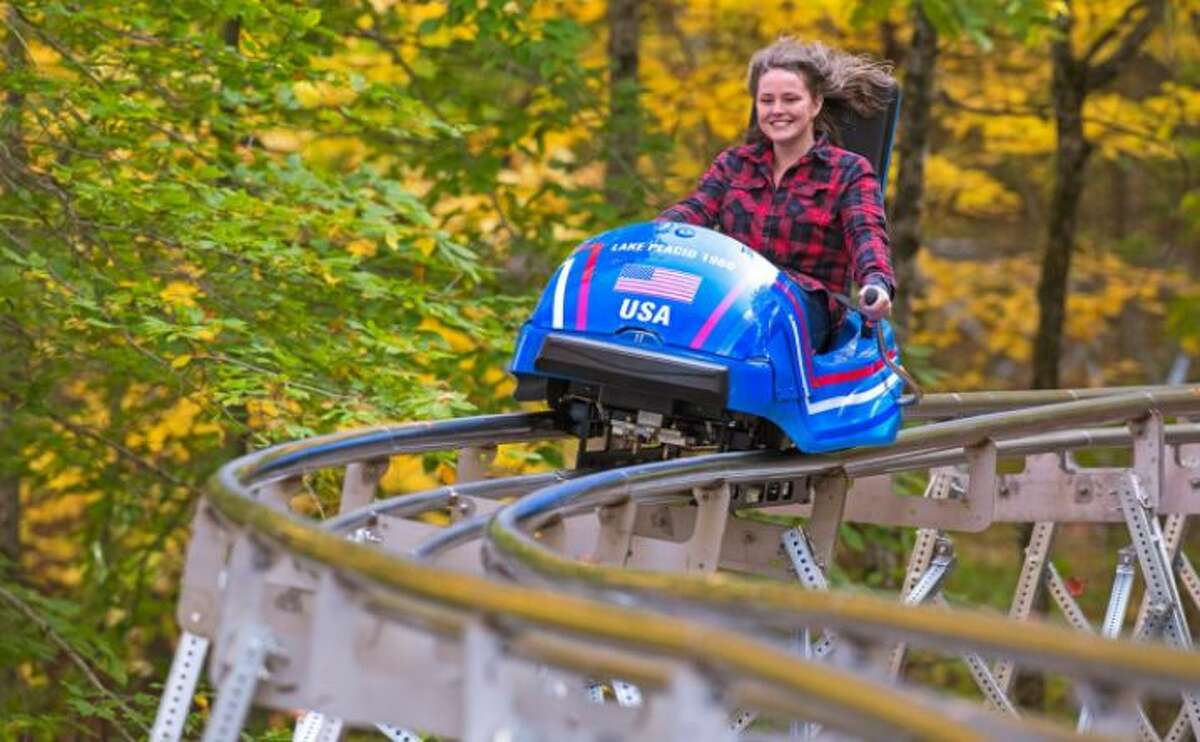 The Cliffside Coaster can hit 25 mph rolling down the route of the 1932 and 1980 bobsled track at Lake Placid.