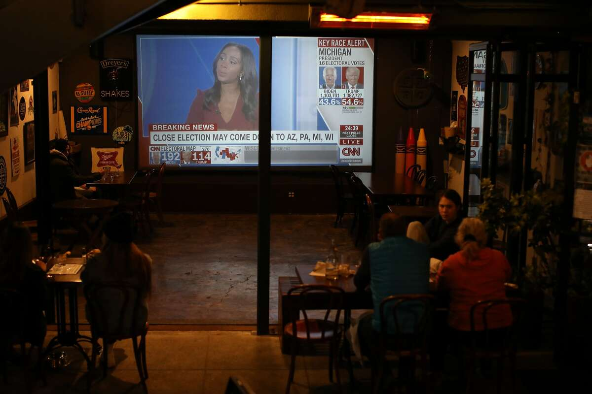 Folks watch CNN's presidential election results at Golden Squirrel on Tuesday, November 3, 2020, in Oakland, Calif.