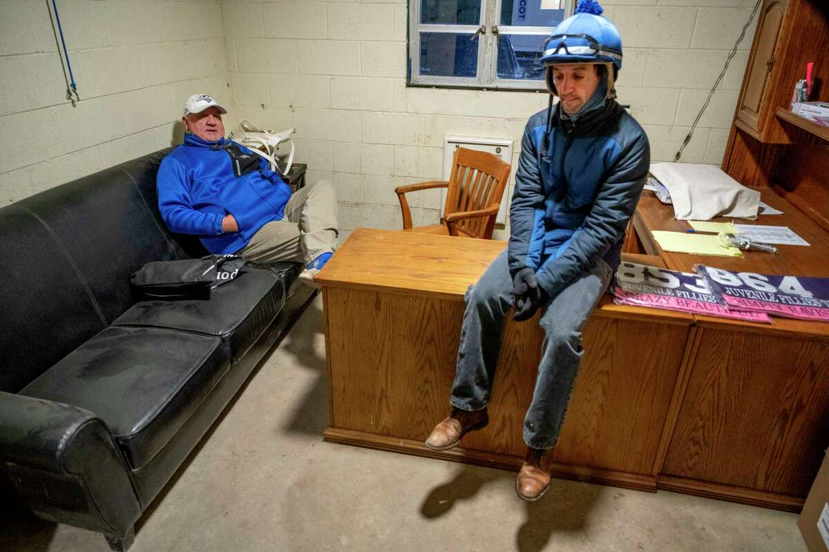 Trainer Kenny McPeek, left sits jockey Robby Albarado who will ride Swiss Skydiver in Breeders?• Cup Distaff for McPeek at Keeneland Race Course Tuesday Nov. 3 2020 in Lexington, KY. Photo by Skip Dickstein