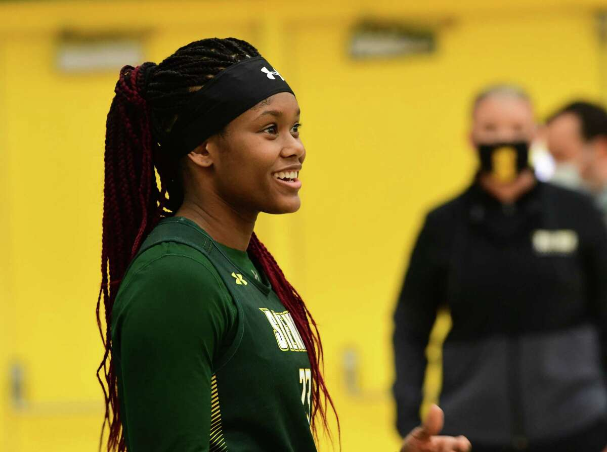 Siena women?•s basketball player Isis Young speaks during the team's media day at Siena College on Thursday, Nov. 5, 2020 in Loudonville, N.Y. (Lori Van Buren/Times Union)