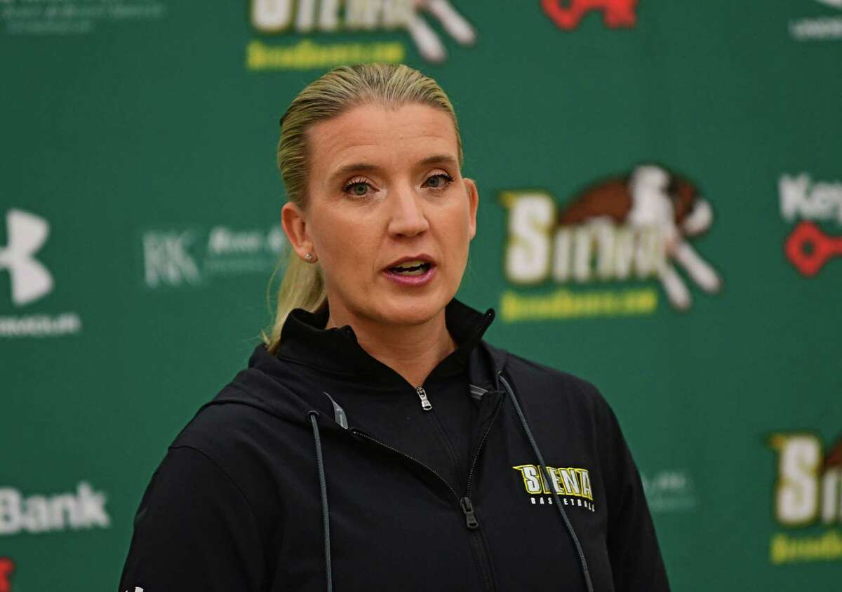 Siena women?•s basketball head coach Ali Jaques speaks during the team's media day at Siena College on Thursday, Nov. 5, 2020 in Loudonville, N.Y. (Lori Van Buren/Times Union)