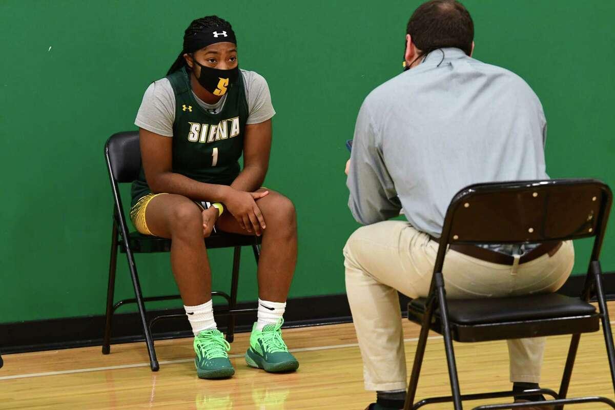 Siena women?•s basketball player Ahniysha Jackson is interviewed during the team's media day at Siena College on Thursday, Nov. 5, 2020 in Loudonville, N.Y. (Lori Van Buren/Times Union)