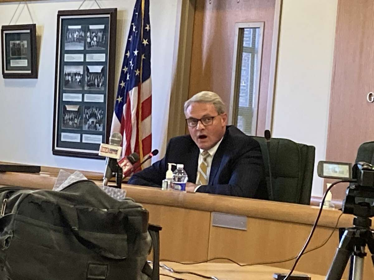 Saratoga County Administrator Spencer Hellwig speaks at a press conference in the Board of Supervisors conference room in Ballston Spa on Nov. 5, 2020. In August, some supervisors called for his resignation for his part in creating the pandemic pay debacle.