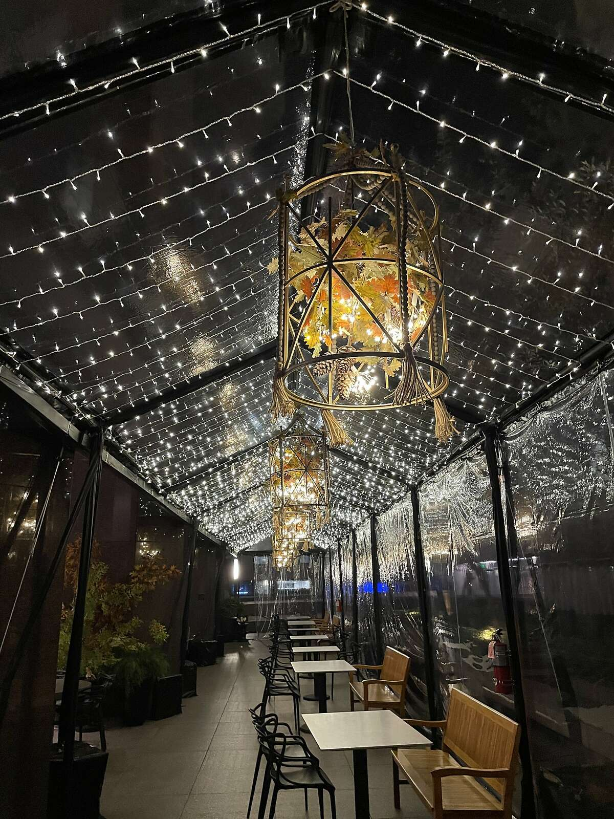 The Vault Garden has installed a giant clear tent and lights to get the outdoor restaurant into a festive mood. The decor will fully transform into a winter wonderland theme after Thanksgiving.