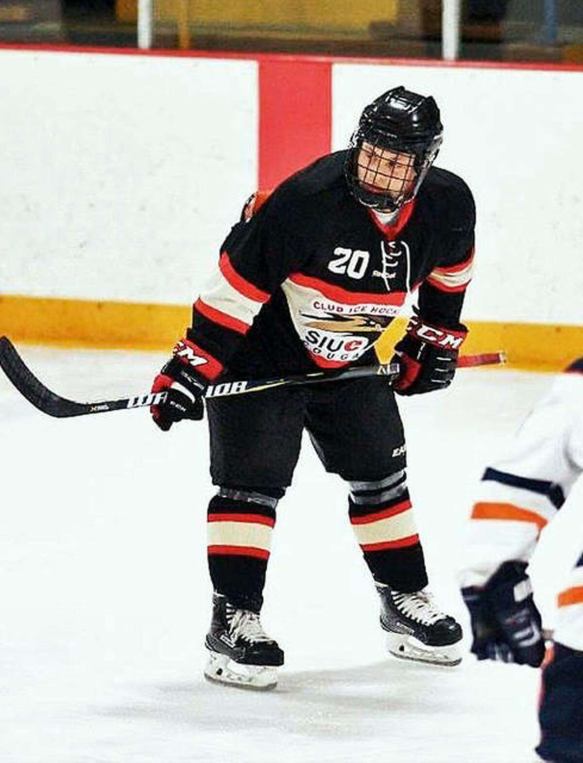 An SIUE hockey player waits for a face-off at the East Alton Ice Arena during a previous season. The arena serves as the home ice for the Cougars.