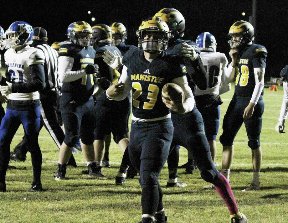 Manistee's Landen Powers celebrates a touchdown during the Chippewas' win over Kalkaska last week. Manistee will host Grayling at 7 p.m. on Friday at Chippewa Field in a Division 6 district semifinal. (Dylan Savela/News Advocate)