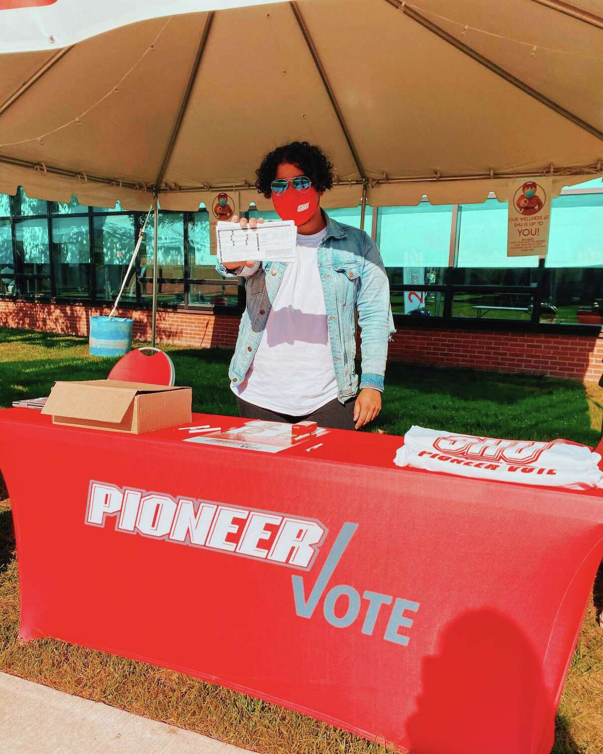 Carlos Ruiz, president of PioneerVote, at one of the voter drives held in October 2020 at Sacred Heart University.