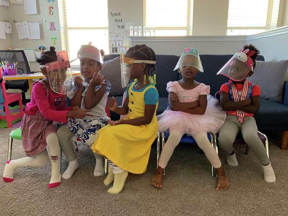 In June 2020, Nwamaka Unaka created a micro-school in her home called the Black Girl Magic School, a pod consisting of five preschoolers, including Unaka's daughter, Urennaya Unaka, 4, Paetyn Jackson, 4, Avery McLenan,3, Auri Bentley, 4, and Chandler Palmer, 4. Photo: Joy Sewing