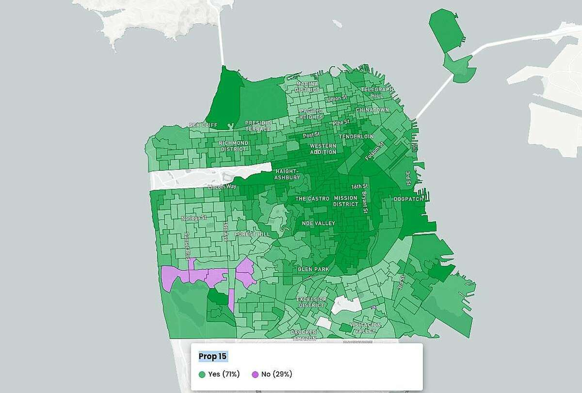 San Francisco results for Proposition 15 as of Nov. 5, 2020.