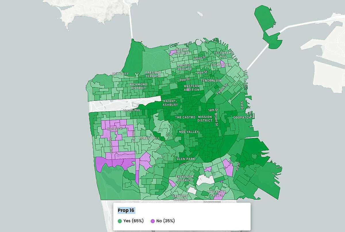 San Francisco results for Proposition 16 as of Nov. 5, 2020.