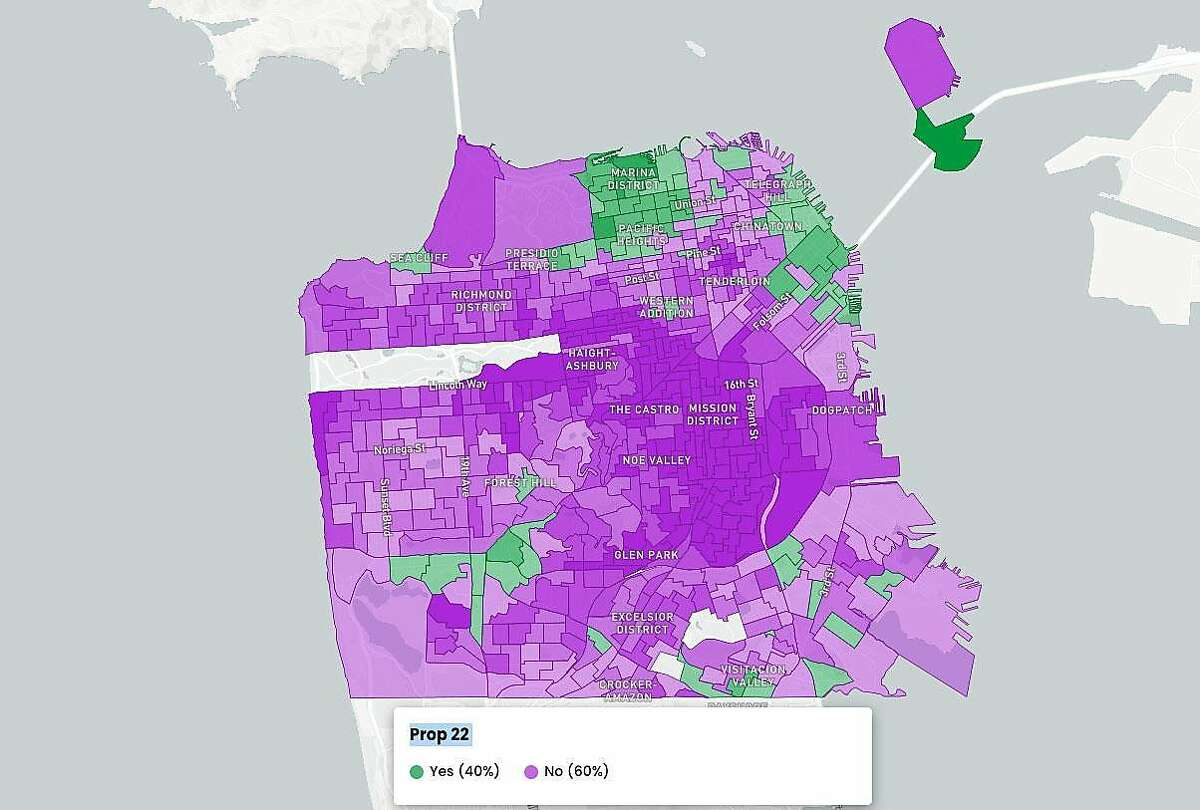 San Francisco results for Proposition 22 as of Nov. 5, 2020.