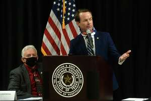 Texas Rep. Dade Phelan speaks, taking advantage of the time to make another push for Census 2020 responses in the area, during a signing ceremony and public announcement Monday of the design agreement between Orange County, the Texas General Land Office and the U.S. Army Corps of Engineers in building a levee system for future storm protection in Orange County. Months of meetings, planning and negotiations between the three bodies, with input by state and federal legislators ultimately led to the agreement.  Photo taken Monday, September 28, 2020 Kim Brent/The Enterprise
