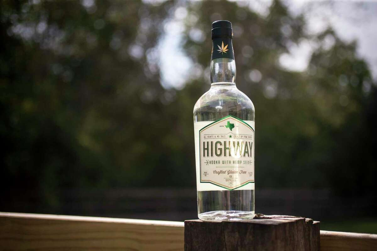 A bottles of Highway Vodka is shown at the Highway Vodka distillery Monday, Oct. 12, 2020 in Houston. The vodka is touted Texas's first hemp based vodka, cooked from scratch.
