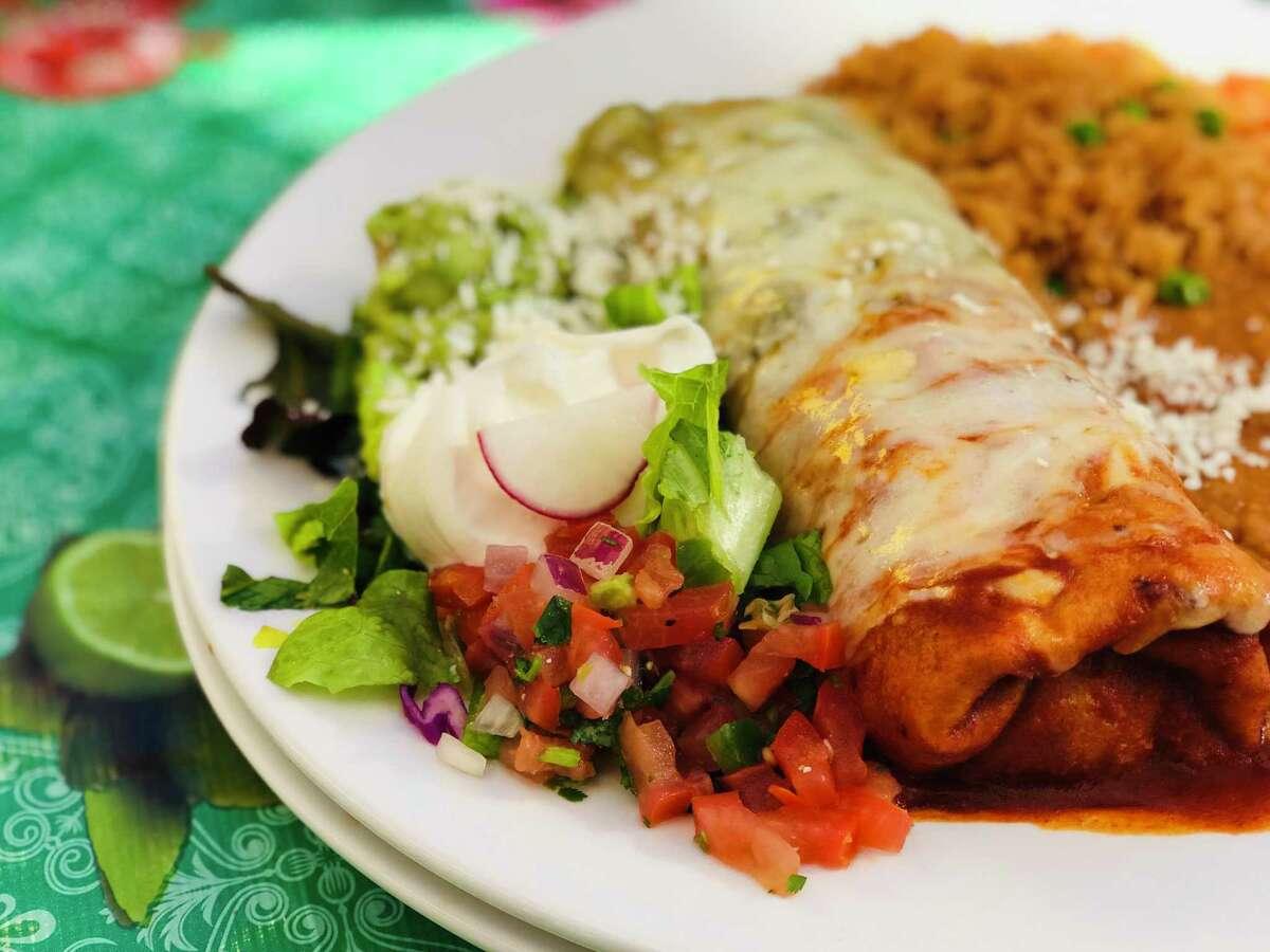 A burrito filled 2ith carne seca served enchilada style at El Charro Cafe, Tucson.