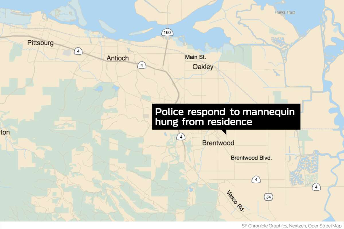 """A mannequin with a cardboard sign that read """"Sleepy Joe (Cheater)"""" across its chest was found hanging by a rope outside a Brentwood residence Thursday morning, police said."""