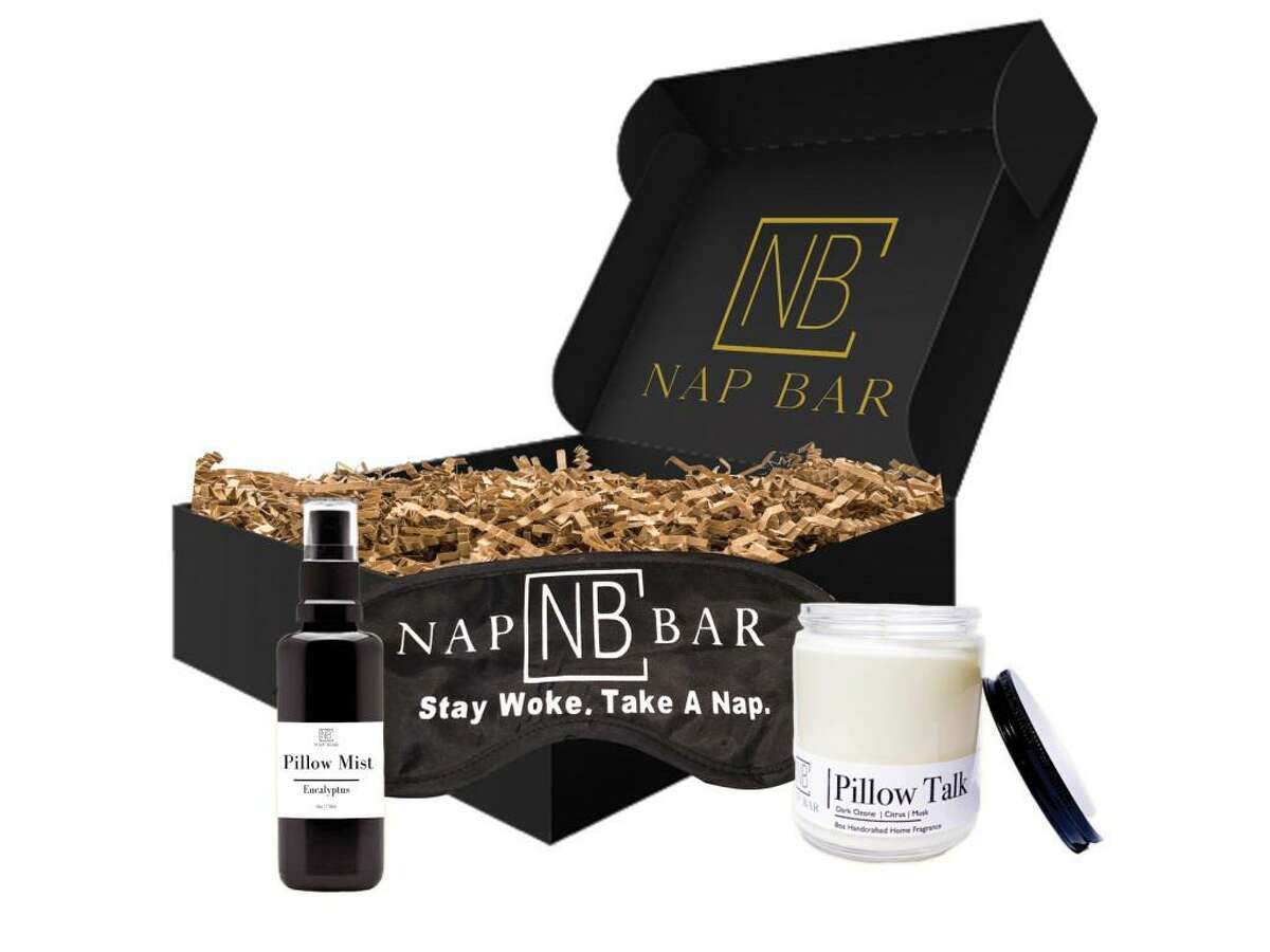 Houston-based Nap Bar, owned by Khaliah Guillory, debuts its Better Sleep Box with a curated collection of items to help destress and get a good night's rest. Included is a vegan soy candle, vegan aromatherapy pillow mist, a blackout sleep mask, downloadable brainwaves soundscape and sleep tips. $69 at napbarnow.com
