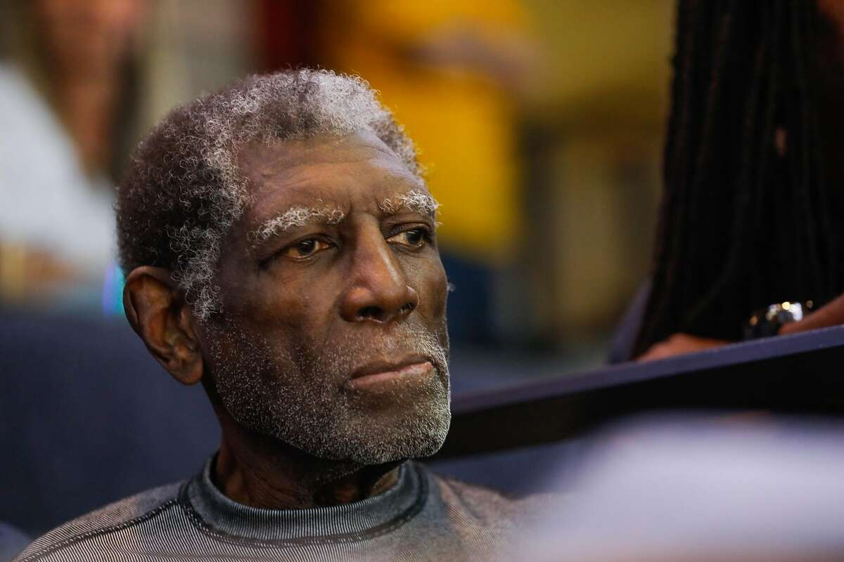 Al Attles watches Game 4 of the NBA Finals between the Golden State Warriors and the Toronto Raptors at Oracle Arena in Oakland, California, on Friday, June 7, 2019.