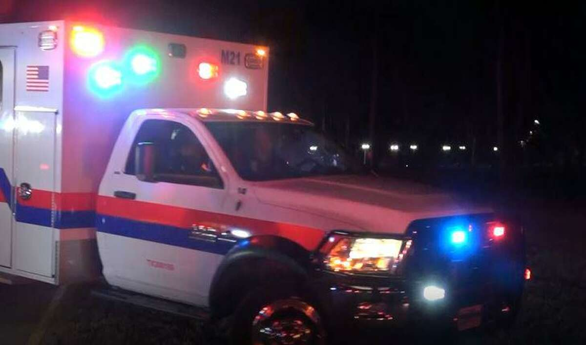 A Montgomery County Hospital District ambulance is seen leaving the site of a kitchen explosion Nov. 2 in Porter where three people were hospitalized.
