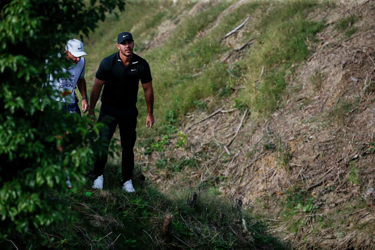 Brooks Koepka, who helped the redesign of Memorial Park, found the hazard on No. 7 during Thursday's first round of the Houston Open.