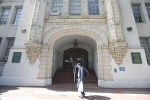 The exterior of the San Francisco Unified School District offices on Friday, March 13, 2020. Proposition 15, which could raise as much as an additional $12.5 billion a year to fund schools and local government services, was too close to call Thursday morning.