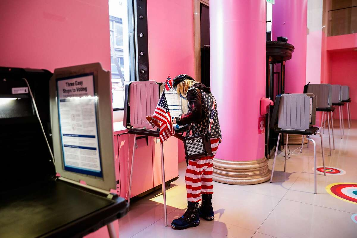 Shawn Killingsworth votes at a polling station at the Museum of Ice Cream in downtown San Francisco on Election Day on Tuesday, Nov. 3, 2020 in San Francisco, California.