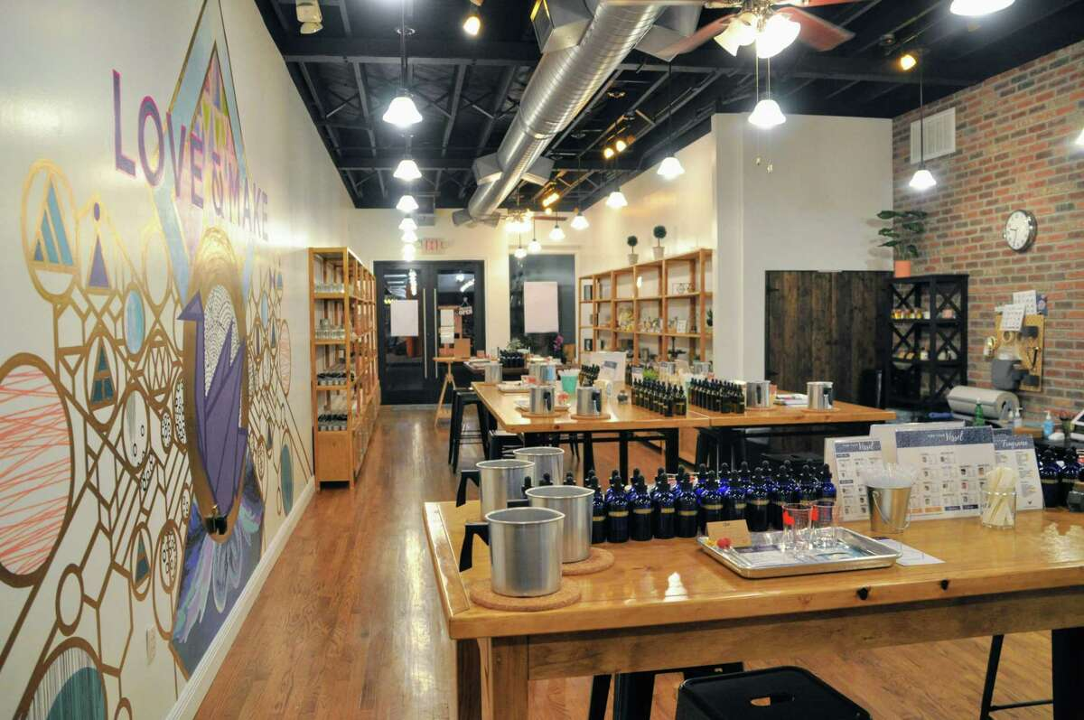 Love & Make is a DIY workshop studio where small classes play with oils to blend custom candles and soaps.