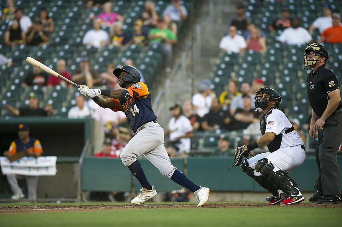 Las Vegas Aviators infielder Jorge Mateo hits the ball during the first Pacific Coast League championship series game against the Sacramento River Cats at Raley Field in Sacramento, Calif. on Wednesday, Sept. 4, 2019.