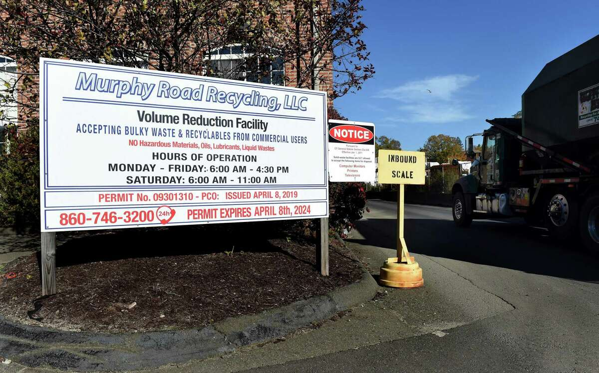 A truck passes the entrance to Murphy Road Recycling on Wheeler Street in New Haven on Nov. 5, 2020.