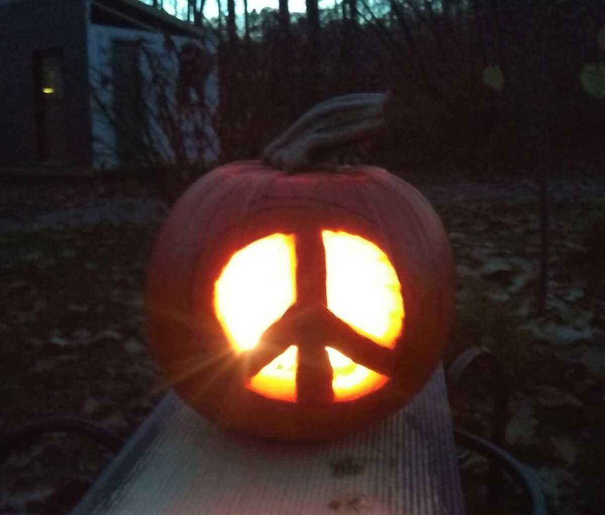 Diane Weisbeck'sHalloween Peace Pumpkin.