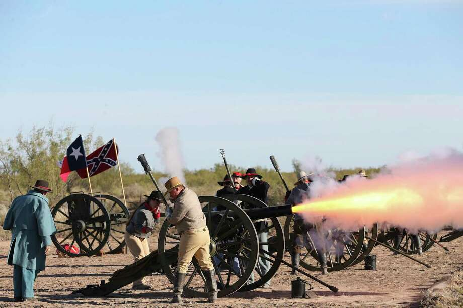 Cannons are fired during a gathering at Horse Head Crossing in Pecos County on Saturday, Oct. 31, 2020, to celebrated the historic site. Photo: Jerry Lara / **MANDATORY CREDIT FOR PHOTOG AND SAN ANTONIO EXPRESS-NEWS/NO SALES/MAGS OUT/TV   © 2019 San Antonio Express-News