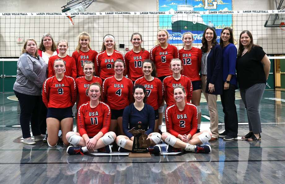 The Unionville-Sebewaing Area varsity volleyball team defeated Bad Axe on Thursday night at Laker High School to claim a district championship. The Patriots won,  25-23, 26-24, 25-18. Photo: Quad N Productions For The Tribune / copyrighted