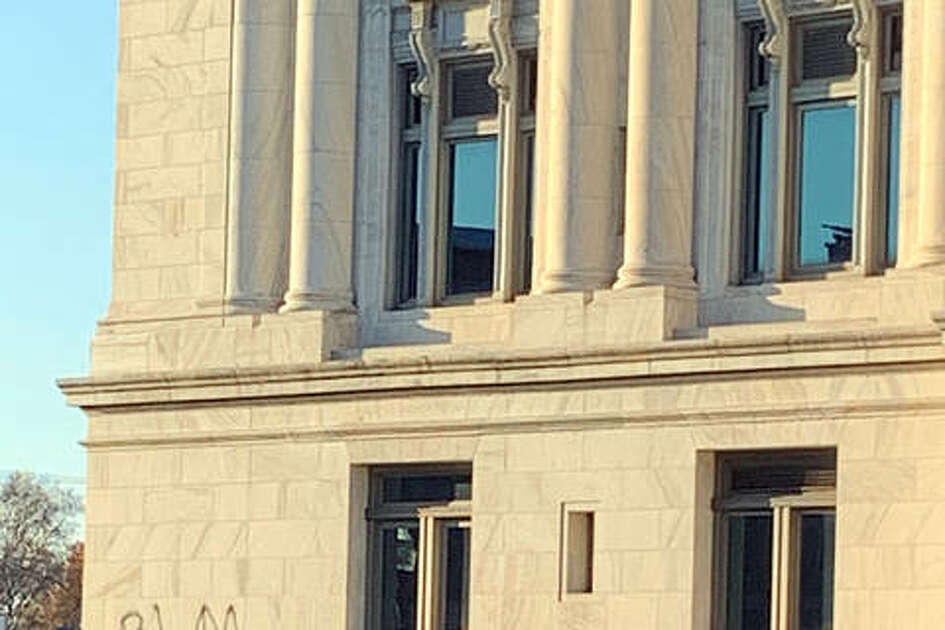 The Madison County Courthouse was similarly defaced overnight. At least two other locations reportedly have similar graffiti, according to Edwardsville Police Chief Jay Keeven.