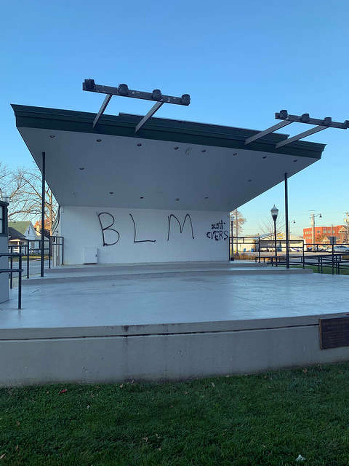 The bandstand in Edwardsville on Friday morning showed indications of graffiti.