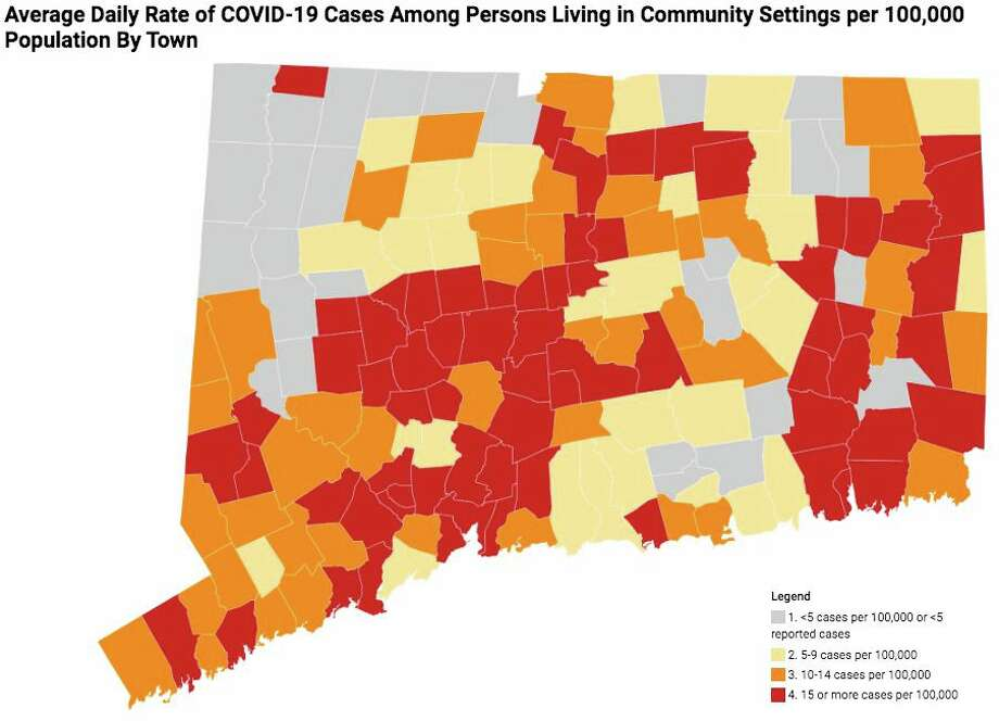 This map shows the average daily rate of new cases of COVID-19 by town during the past two weeks. Only cases among persons living in community settings are included in this map; the map does not include cases among people who reside in nursing home, assisted living, or correctional facilities. Photo: CT DPH / Contributed Graphic