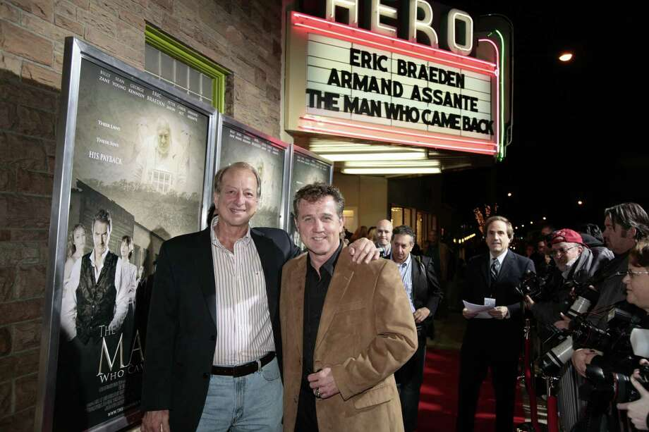 "Sam Cable, left, and Chuck Walker, right, of Conroe-based Walker Cable Productions at the Hollywood premier of ""The Man Who Came Back"" in 2008. The duo currently has several film and TV projects in the works. Photo: Photo By Brad Meyer"