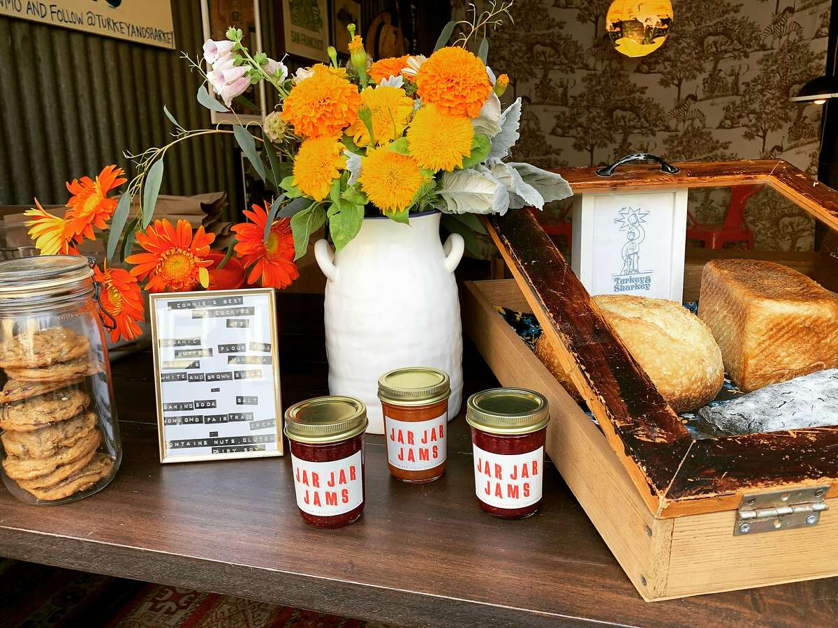Breads and jams from the Turkey & Sharkey market that happens each Sunday in the Lower Haight.