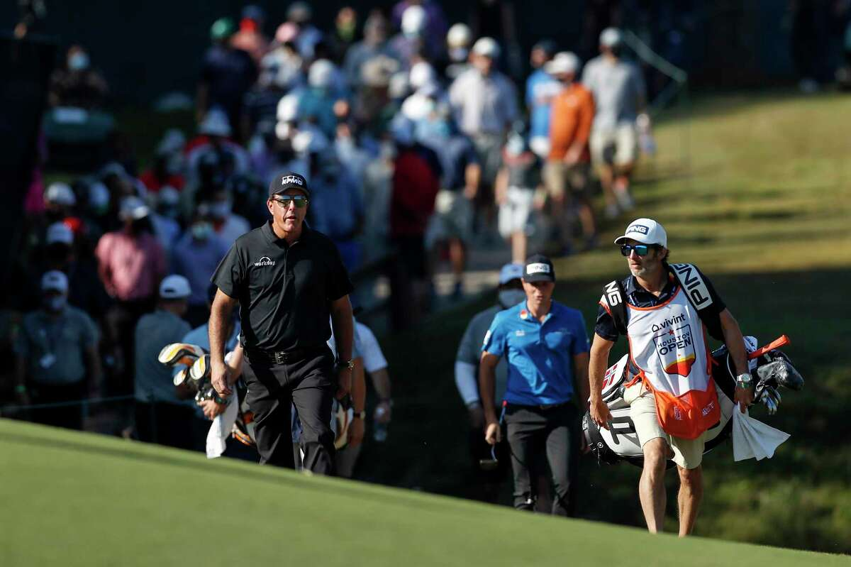Phil Mickelson walks up to the seventh green during the second round of the Vivint Houston Open at Memorial Park Golf Course on Friday, November 6, 2020.
