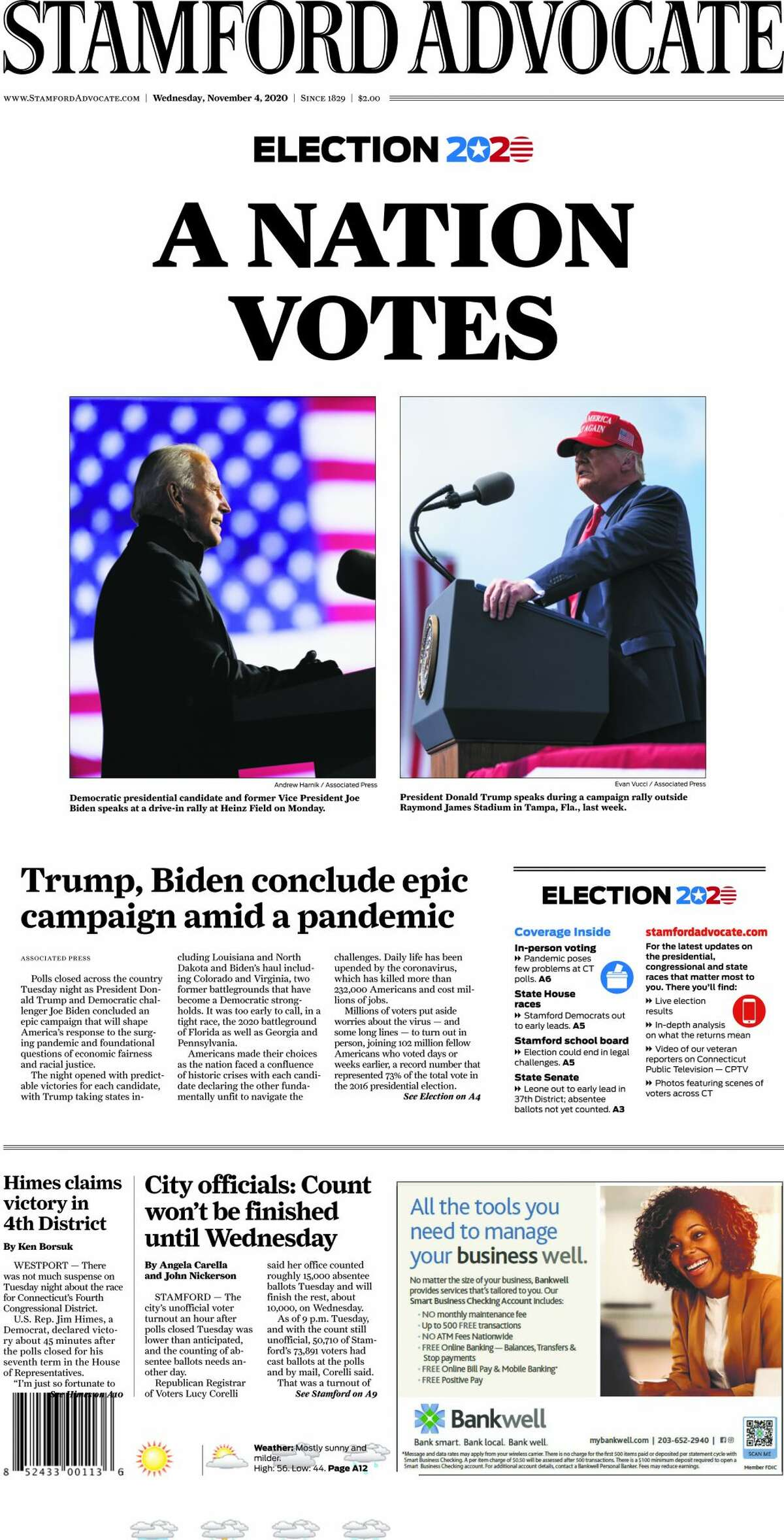 The Stamford Advocate's front page, Nov. 4, 2020.