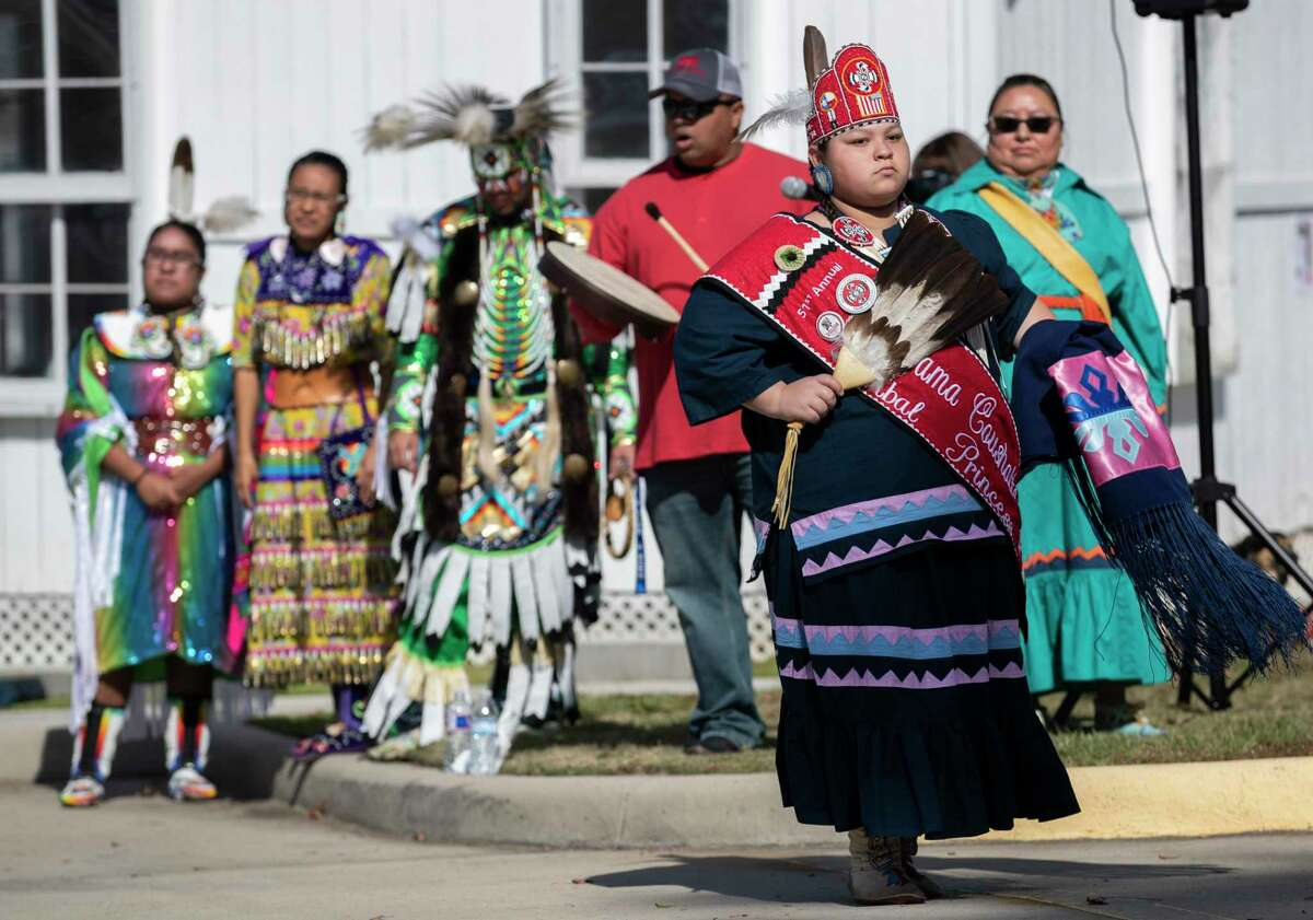 """Bianka Gardner dances as members of the Alabama-Coushatta perform and talk about the tribe's history at the Heritage Museum of Montgomery County, Saturday, Nov. 16 2019, in Conroe. A """"Gathering of Nations"""" event will take place at the Heritage Museum on Nov. 14 to celebrate National Native American Heritage Month."""